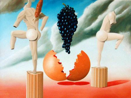 1996 - Afkeer van de aanbidding der druiven    ( 60x80 cm )/Aversion to the worship of grapes