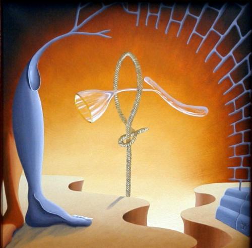 Het acrobaterend glas   1997 ( 50x50 cm )/]The acrobat glass   1997 ( 50x50 cm )