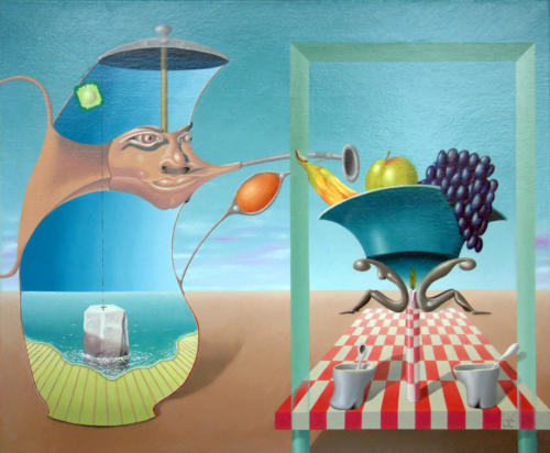Surrealistisch thee partijtje   2001 ( 50x60 cm )/Surrealistic tea party   2001 ( 50x60 cm )