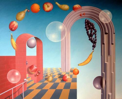 Het circuleren van fruit, gadegeslagen door bollen    2002  ( 80x100cm )/Circulating fruit, watched bij spheres    2002  ( 80x100cm )