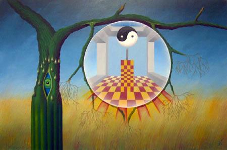 Een kijkje in de kamer van Yang en Yin    2002 ( 50x75 cm )/A little view in the room of Yang and Yin    2002 ( 50x75 cm )