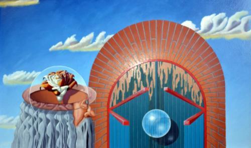 2002 - Fleurige gedachten met wat er zich achter deze deur afspeelt     ( 60x100 cm )/Bright minds with what is going on behind this door