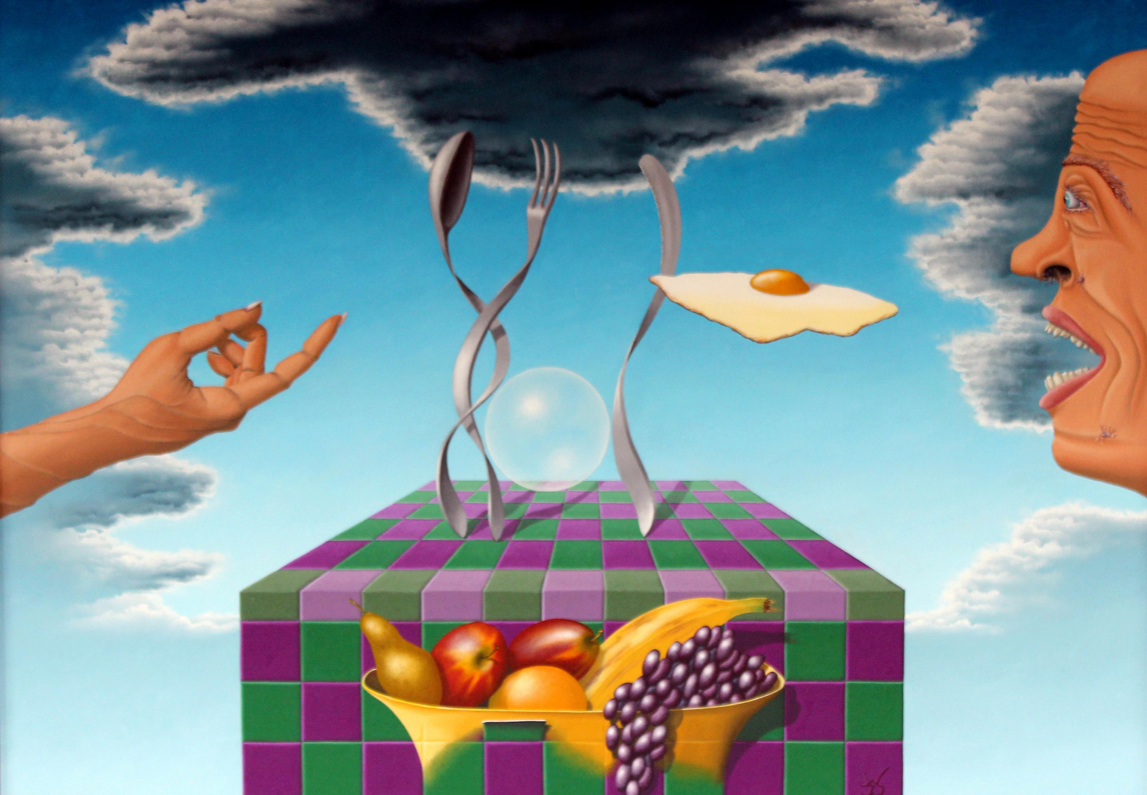 2004 - Het dansend bestek zorgde voor een aangegooid ei       ( 75x80 cm )/The dancing cutlery made for a pitched egg