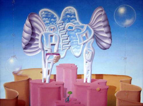 2011 - Engelachtige heilbede tijdens het Angelus ( 60x80 cm )[:en]Angelic benediction during the Angelus