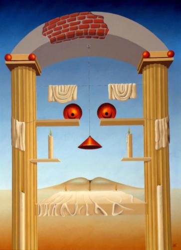 De zuilenwacht tijdens het diner der kaarsen-7-uur te vroeg   1995  ( 80xx70 cm )/The pillar waiting at dinner-7-hour early   1995  ( 80x70 cm )