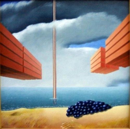 Dagje strand   1995 ( 60x60 cm ) ( drieluik midden )/Day at the beach   1995 ( 60x60 cm ) middle panel
