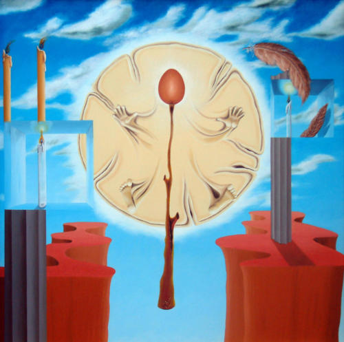 Ontsnapping van het continent   1997 ( 80x80 cm )Escape from a continent   1997 ( 80x80 cm )