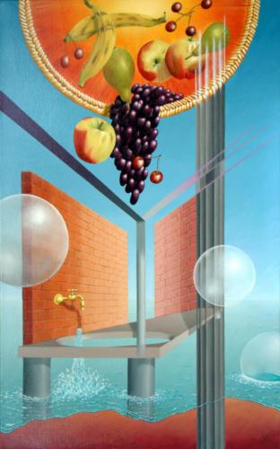 Het door hitte tot baden aangezet fruit    2001 ( 80x50 cm )[:en]By heat encouraged fruit to bathe    2001 ( 80x50 cm )[:]