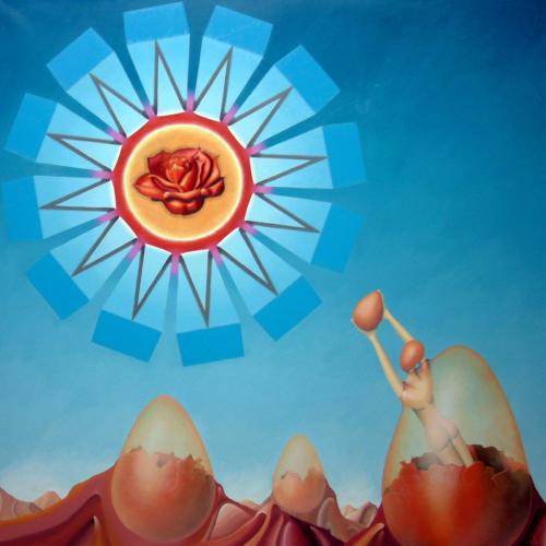 Door de warmte van het binnenste der aarde, eieren gekookt als offer   2001  ( 80x80 cm )/The heat of the interior of the earth, eggs cooked as sacrifice   2001  ( 80x80 cm )