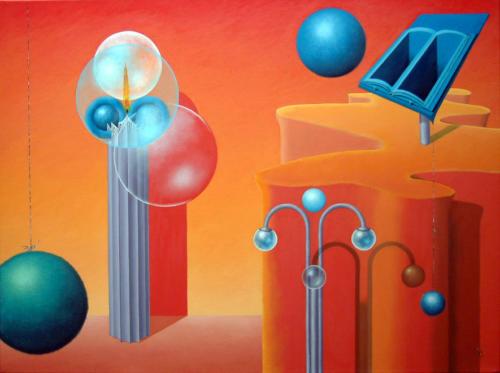 Vuurtoren moet bol behoeden voor misleiding van het boek   2002  ( 60x80 cm )/Lighthouse must keep sphere of misleading the book   2002  ( 60x80 cm )