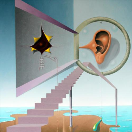 2005 - Het is een moeilijke weg voor het vinden van een luisterend oor    ( 80x80 cm )/It is a difficult way to find an good listener