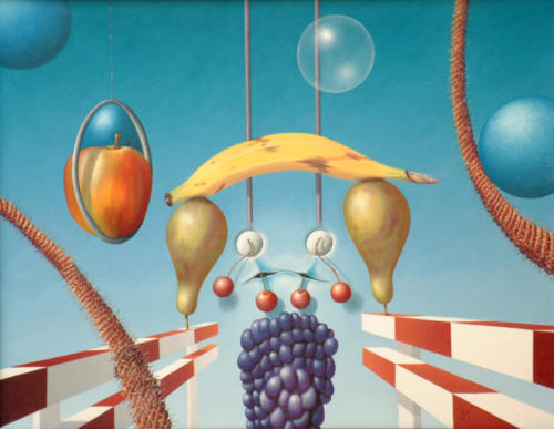 2005 - Fruit neemt risico met hindernissen ( 40x50 cm )/Fruit takes risks with obstacles
