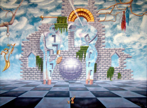 2011 - Onbewoonbaar verklaarbare conversatie tijdens het Angelus ( 60x80 cm )/Uninhabitable explicable conversation during the Angelus