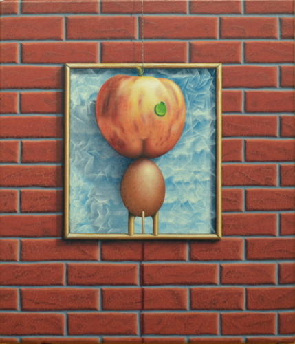 2020 - Poster-ontwerp voor een appel en-of-op een ei     ( 35x30 cm )/Poster design for an apple and or-on an egg